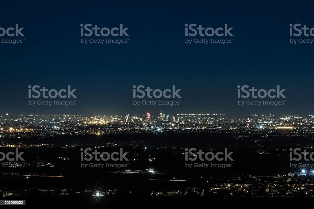 Above the city by night stock photo