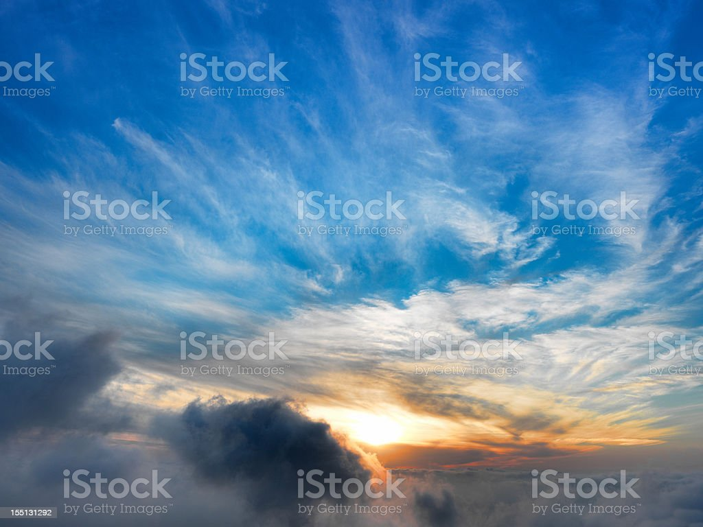 above the clouds at sunset royalty-free stock photo