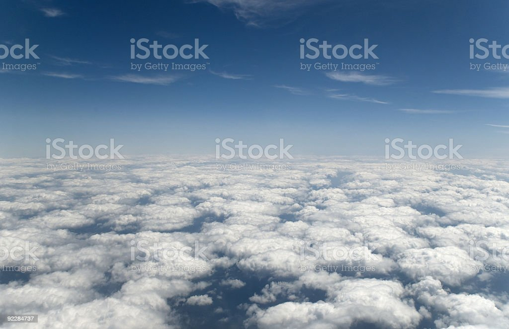 Above the clouds. Blue sky. stock photo