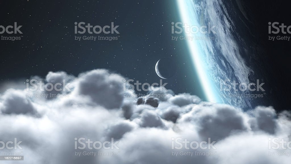 Above the Clouds - Earth and Moon stock photo
