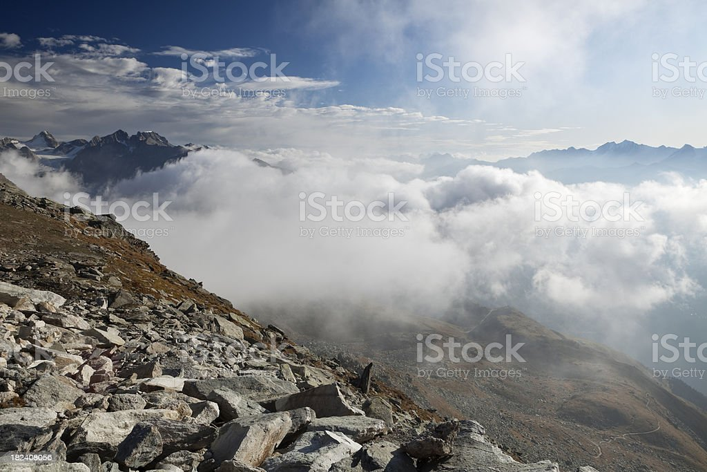 Above the clouds in the European ALps at Eggishorn, Switzerland royalty-free stock photo