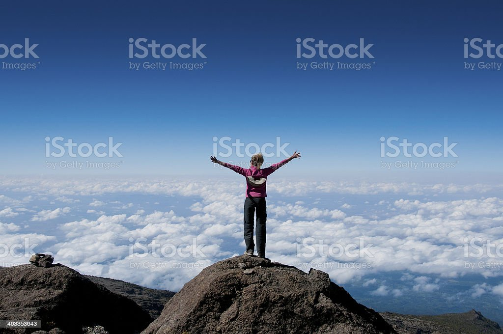 Above the clouds on Kilimanjaro stock photo