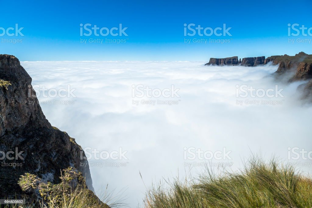 Above the clouds on Sentinel Hike, Drakensberge, South Africa stock photo