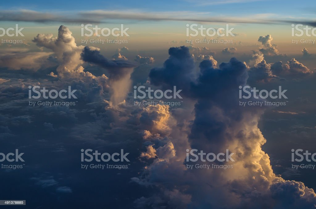 Above the early morning clouds stock photo