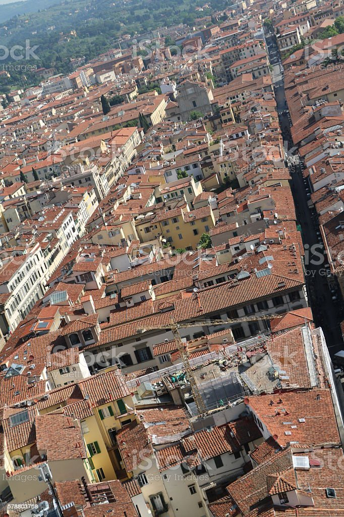 Above the rooftops of Florence, Tuscany Italy stock photo