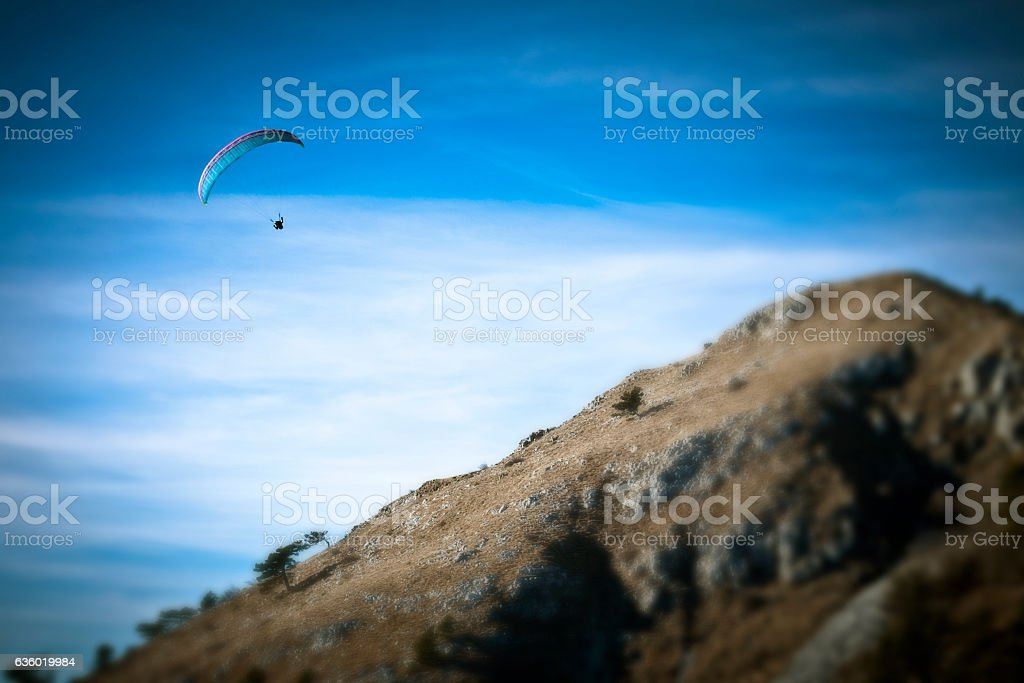 Above the top of a mountain stock photo