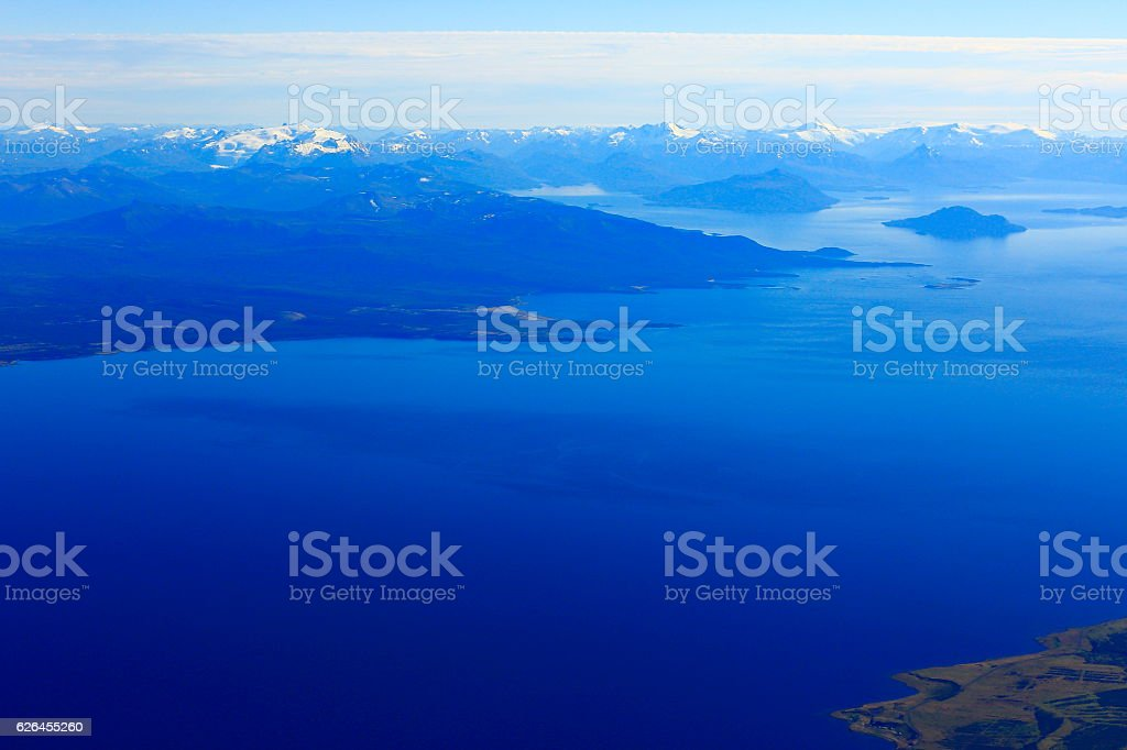 Above Tierra del Fuego, fjord channels, Strait of Magellan, Patagonia stock photo