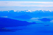 Above Tierra del Fuego, fjord channels, Strait of Magellan, Patagonia