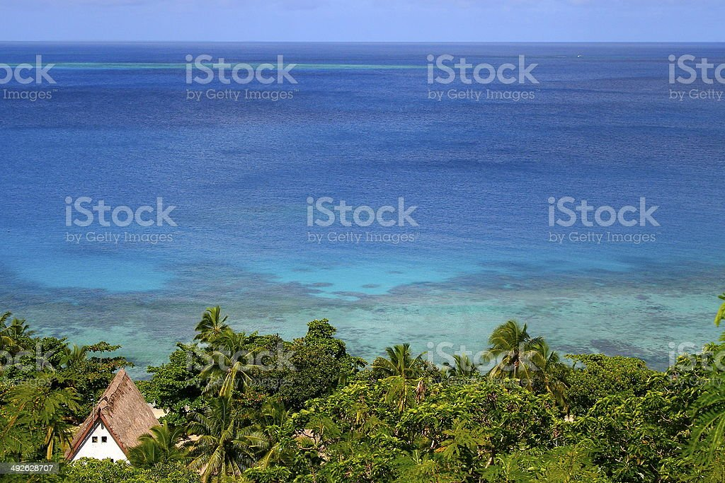 Above Tropical deserted beach paradise in Fiji Islands stock photo