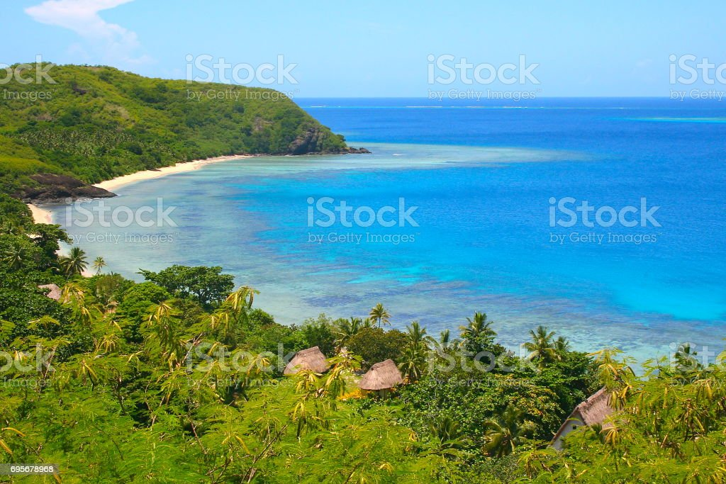 Above Tropical paradise palapas: Dreamlike Sand deserted turquoise beach and palm trees, Idyllic Yasawas, Fiji Islands stock photo