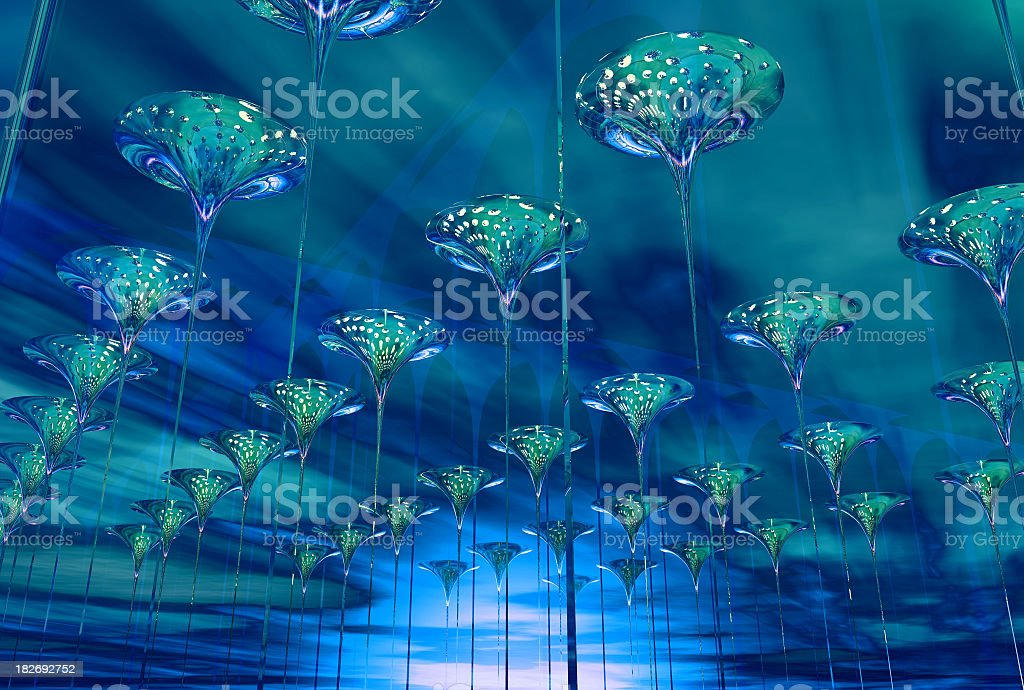 Above trumpets 01 blue royalty-free stock photo