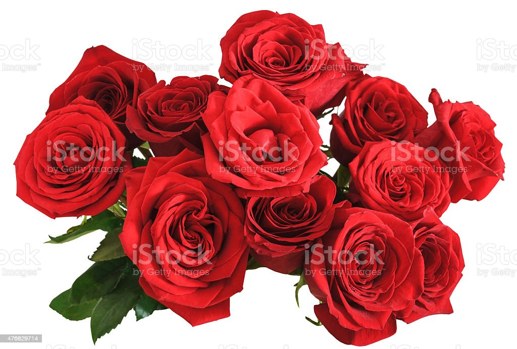 above view bouquet of red roses isolated stock photo