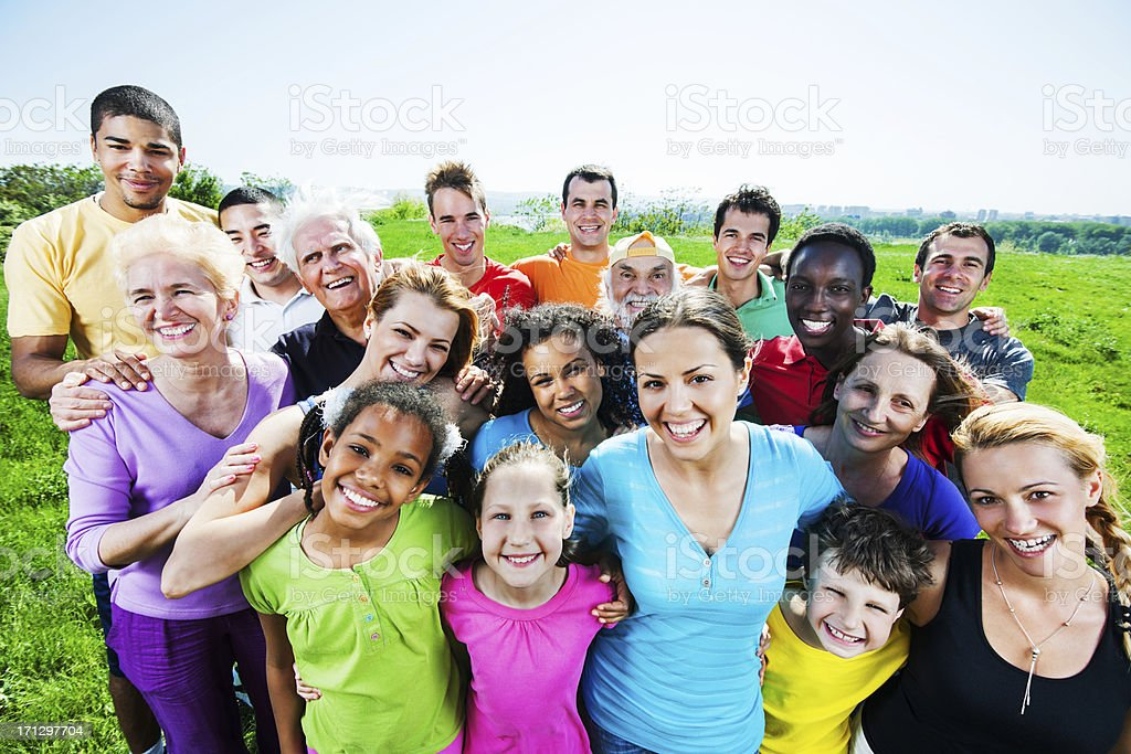 Above view. Large group of embraced people in nature. royalty-free stock photo