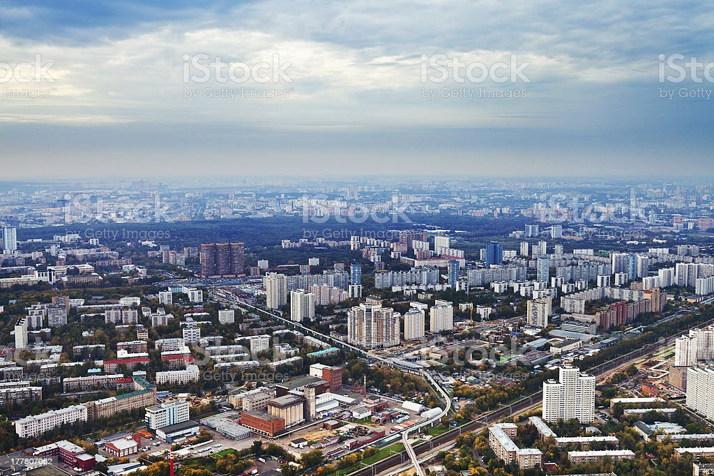 above view Moscow in autumn afternoon royalty-free stock photo
