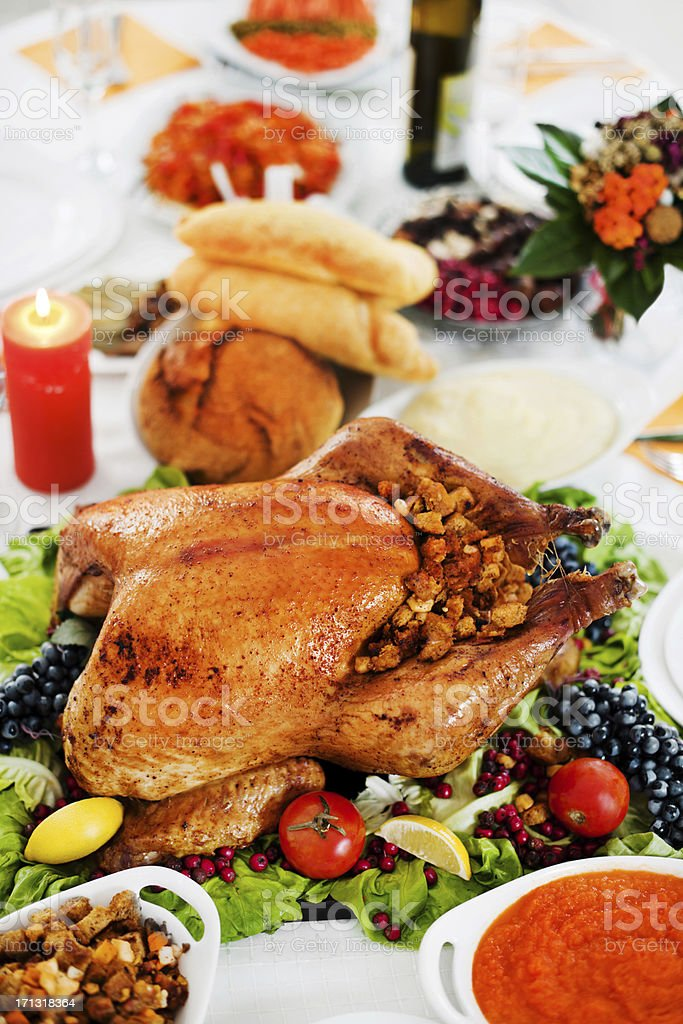 Above view of a thanksgiving dinner stock photo