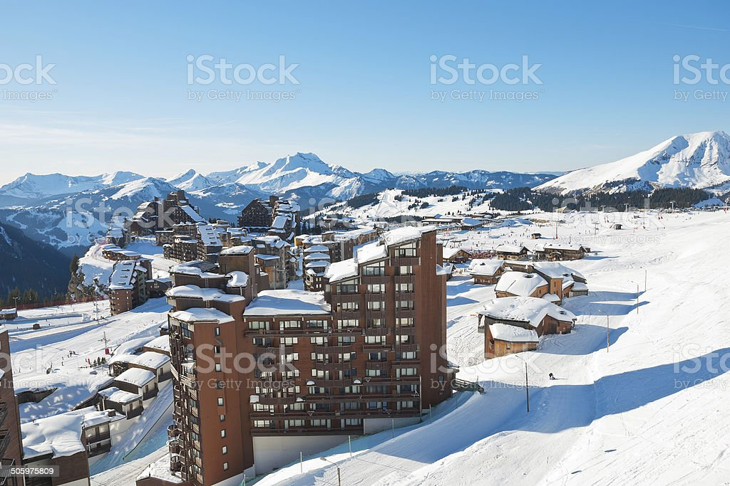 above view of Avoriaz town in Alps, France stock photo