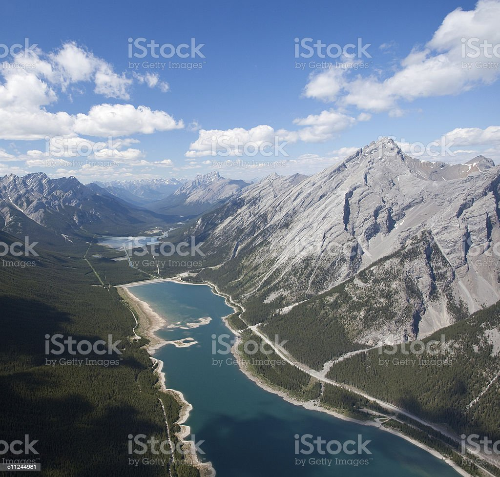 Above view of beautiful landscapes of Spray Lakes, Alberta  stock photo