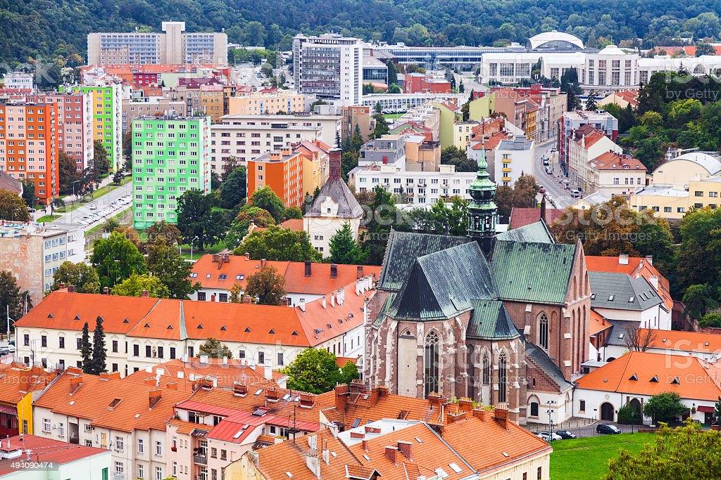 above view of Brno city with Augustinian Abbey stock photo