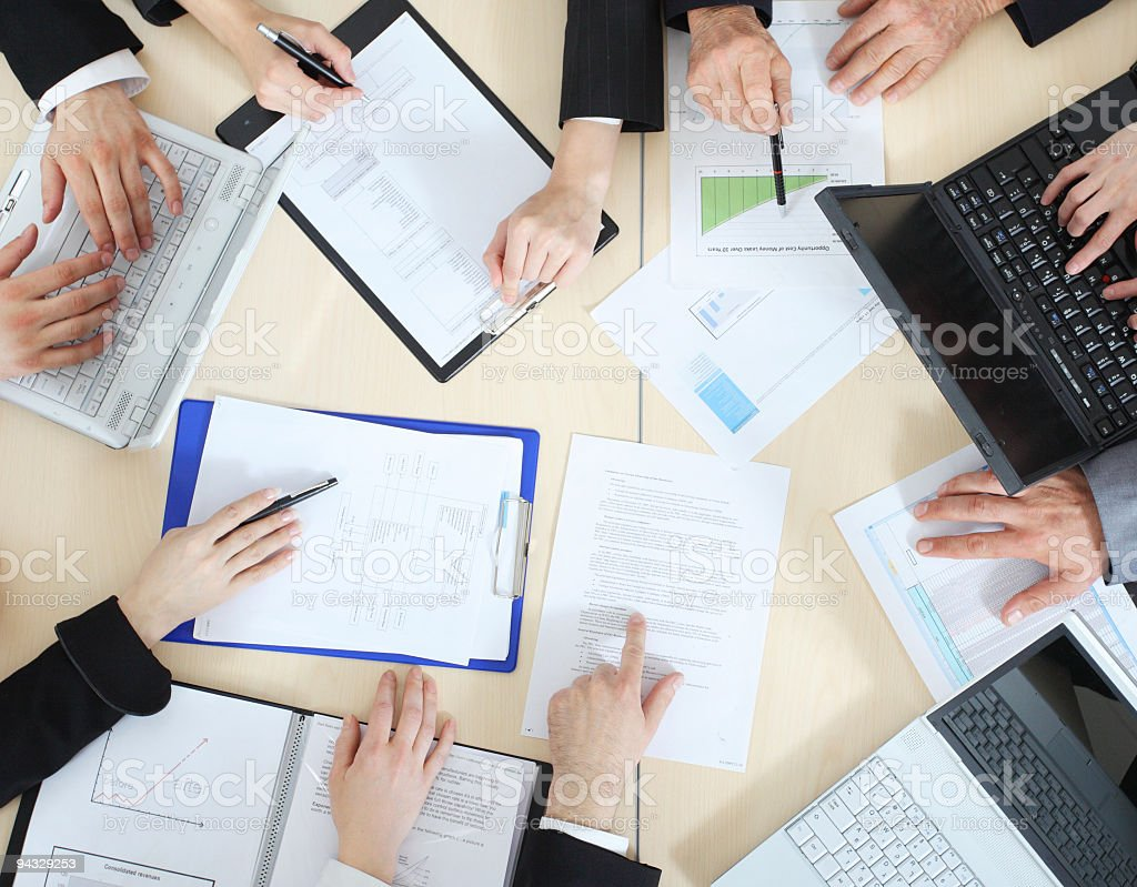 Above view of business people stock photo