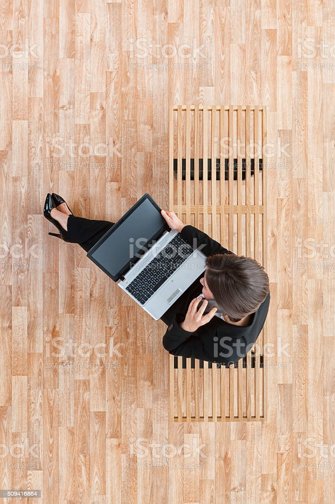 Above view of businesswoman on mobile stock photo