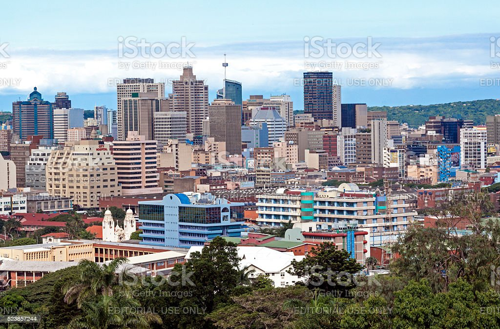 Above View of City Skyline in Durban South Africa stock photo