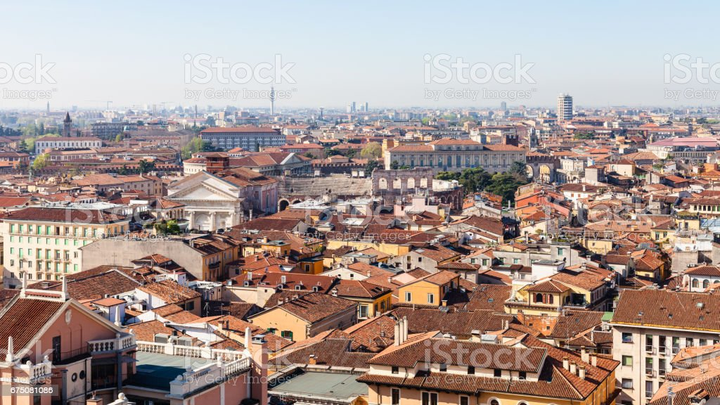 above view of city with Arena di Verona stock photo