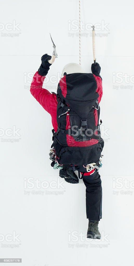 Above view of climber climbing stock photo
