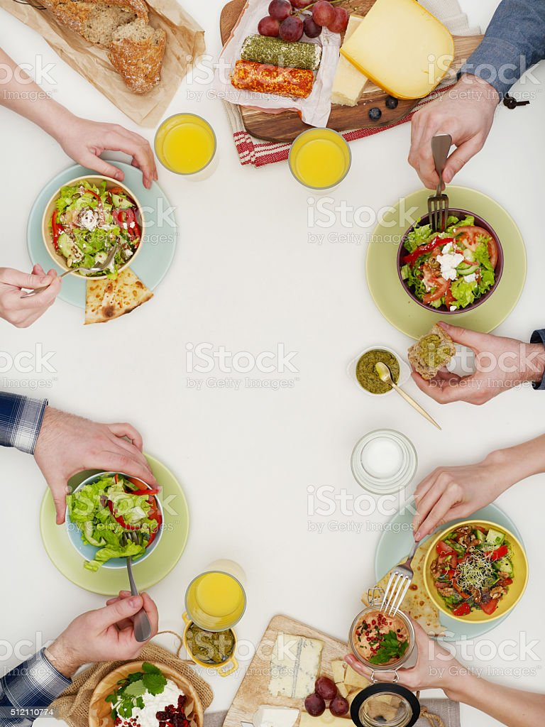 Above view of dinner table stock photo