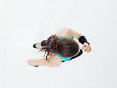 Above view of female runner running