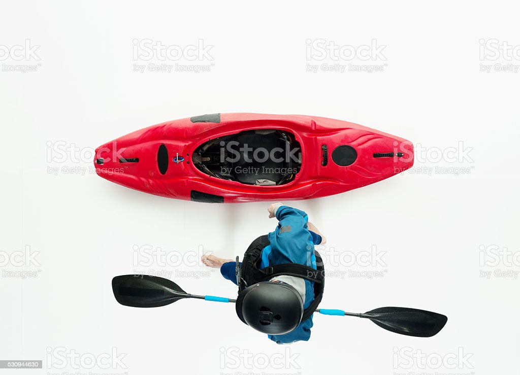 Above view of kayaker stock photo