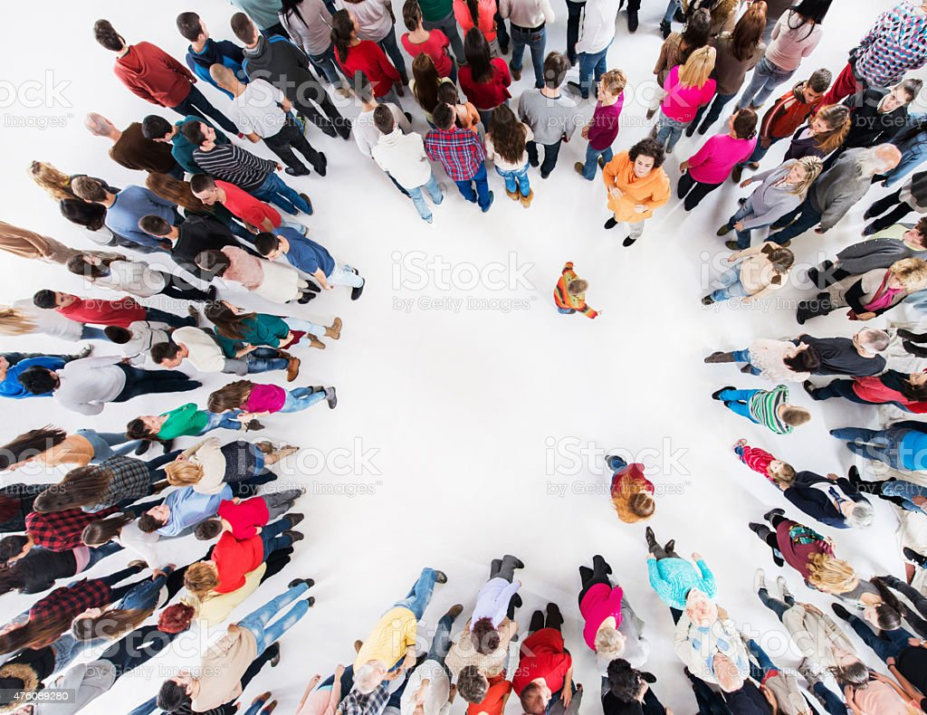 Above view of large group of people standing. stock photo