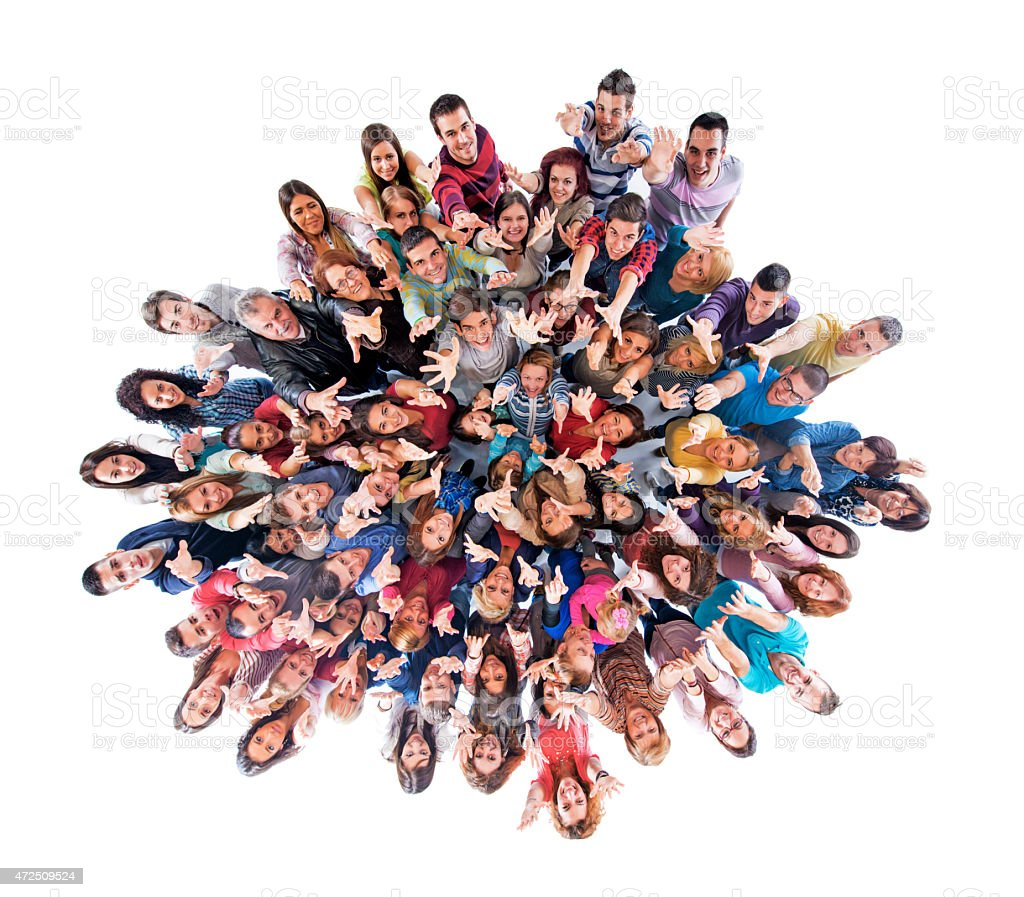 Above view of large group of people with raised arms. stock photo