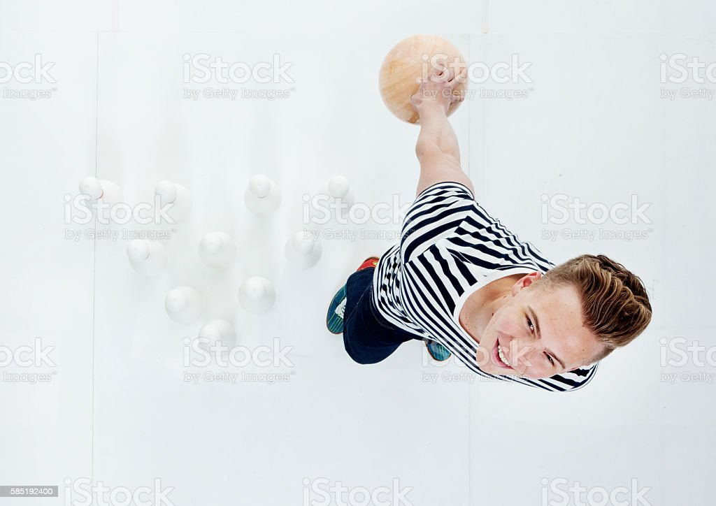 Above view of male holding bowling ball stock photo
