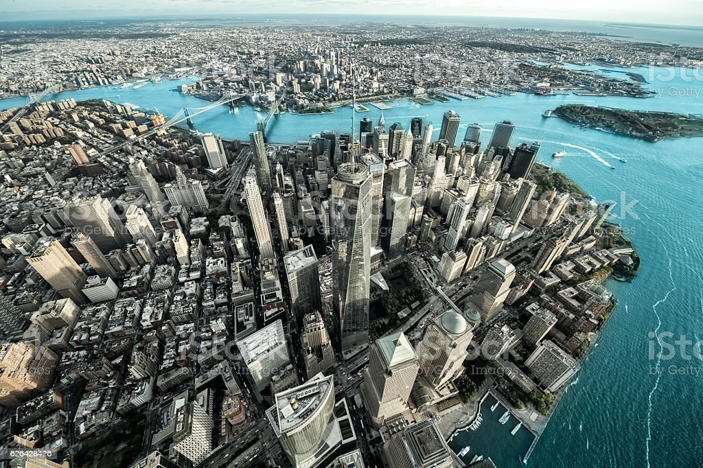 Above view of Manhattan island stock photo