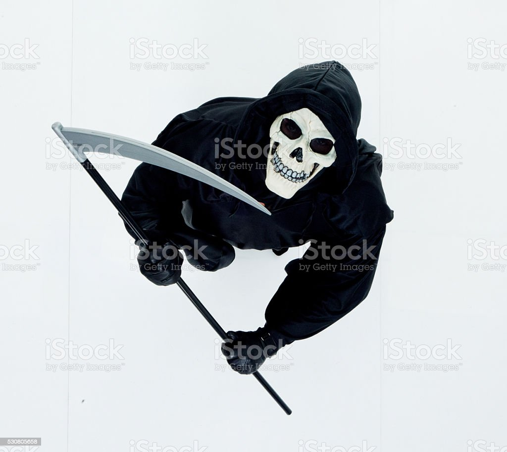 Above view of monster holding scythe stock photo