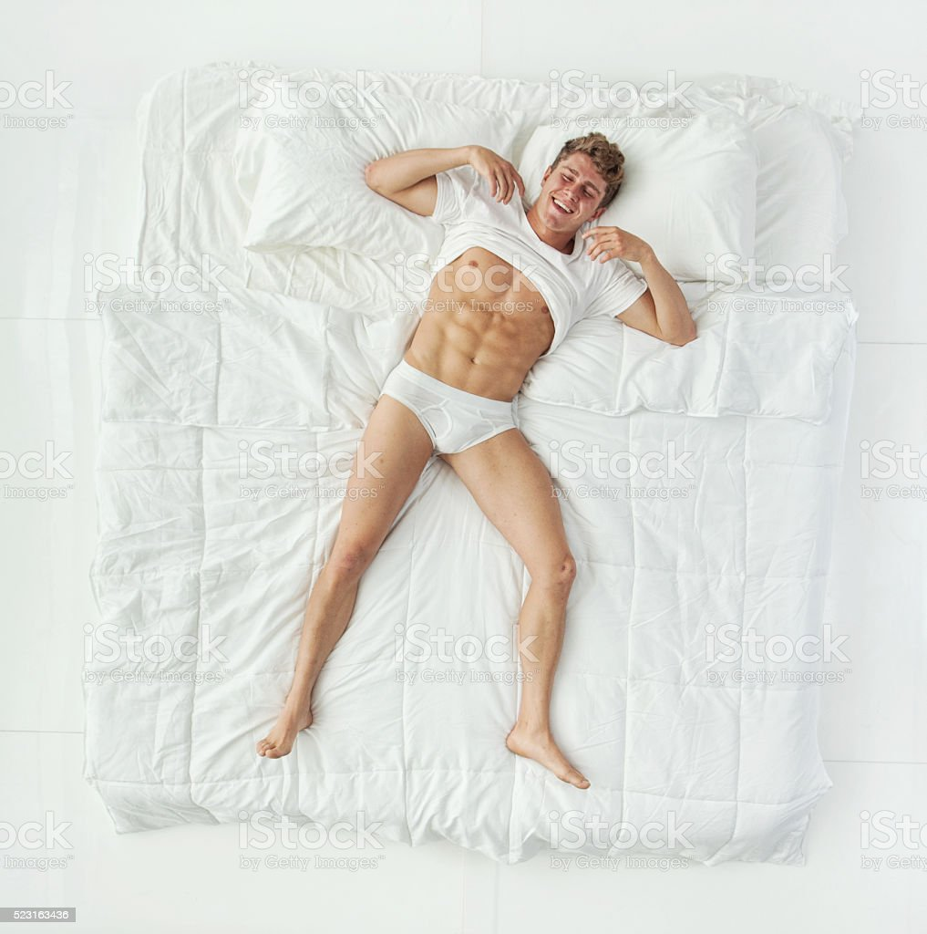Above view of muscular man showing his body stock photo