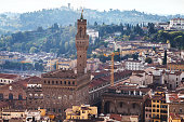 above view of Palazzo Vecchio in Florence city