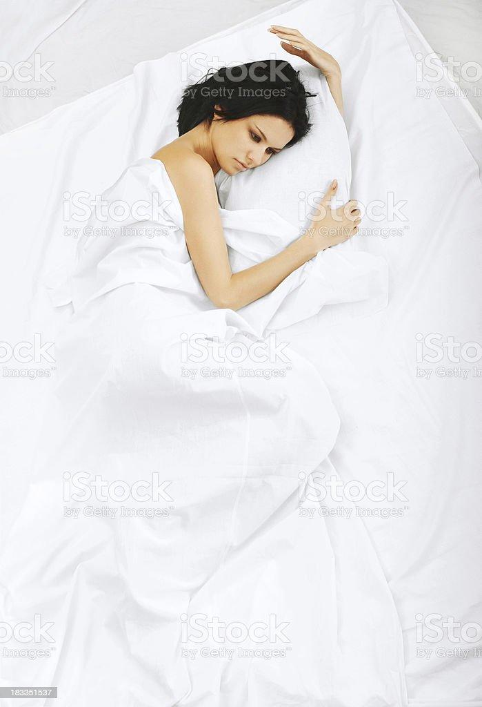 Above view of sleeping beautyful brunet girl royalty-free stock photo