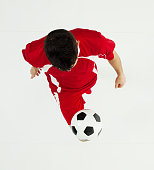 Above view of soccer player juggling