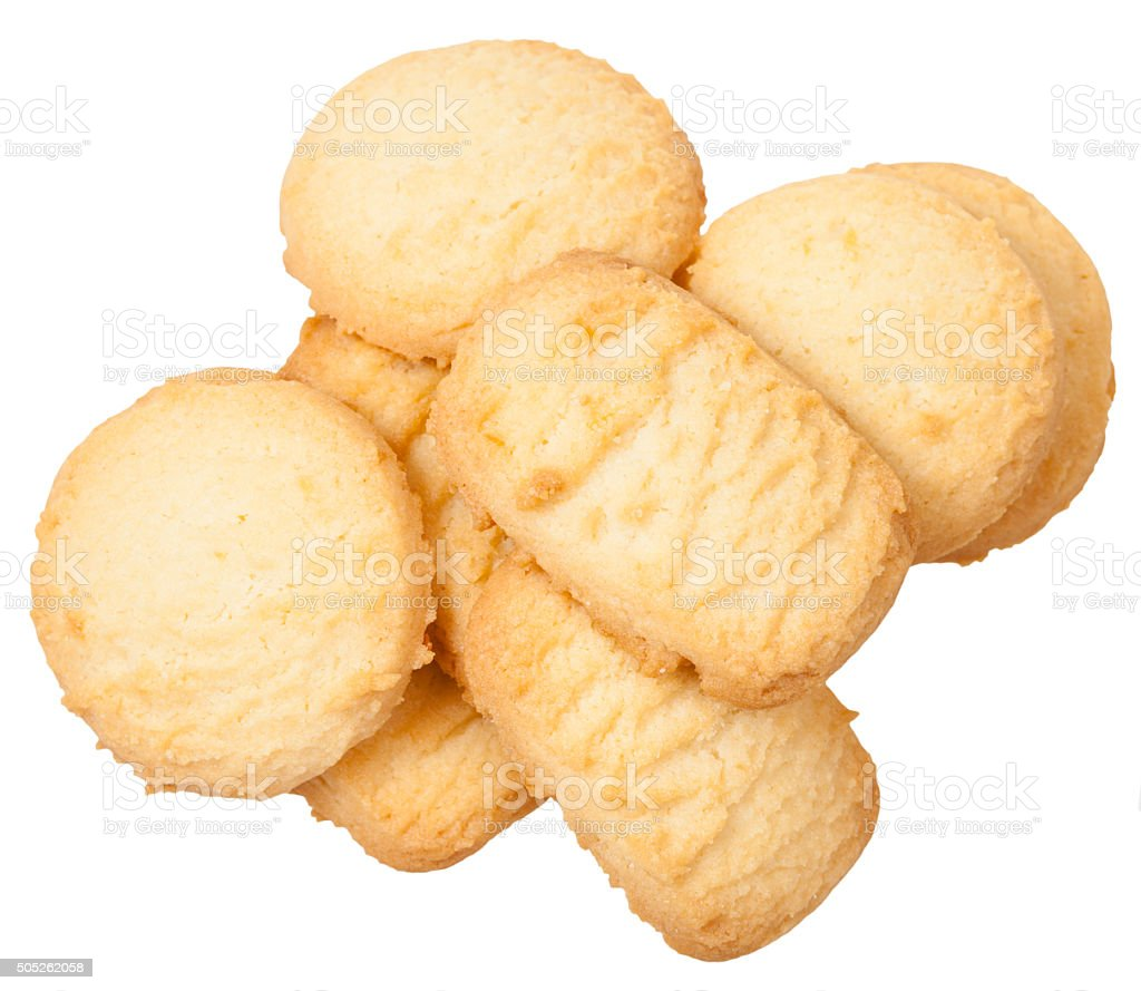 above view of sweet Butter Shortbread Biscuits stock photo