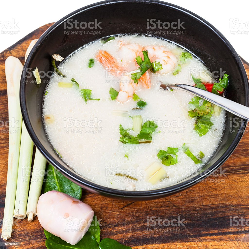 above view of thai soup Tom yam and ingredients stock photo