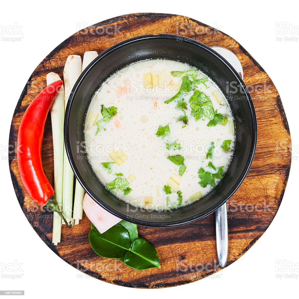 above view of thai soup Tom yam in bowl stock photo