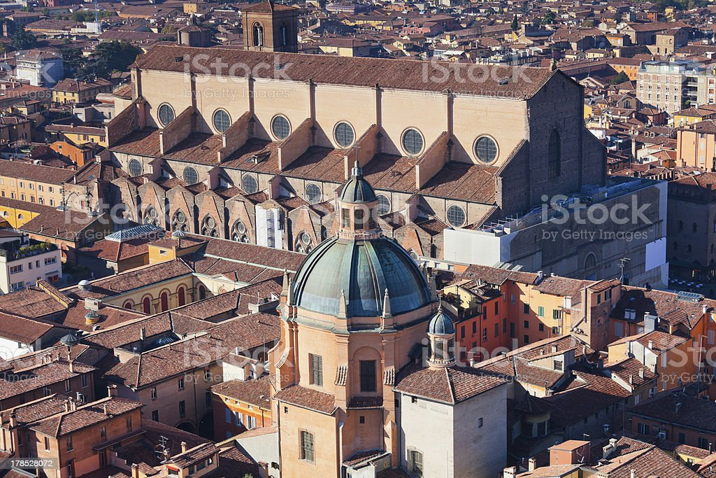 above view of The Basilica San Petronio in Bologna royalty-free stock photo