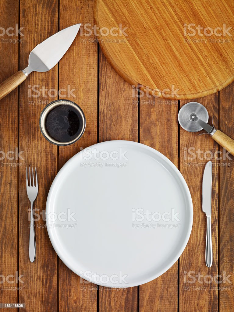 Above view of traditional table setting stock photo