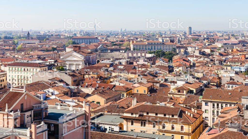 above view of Verona city with Arena stock photo