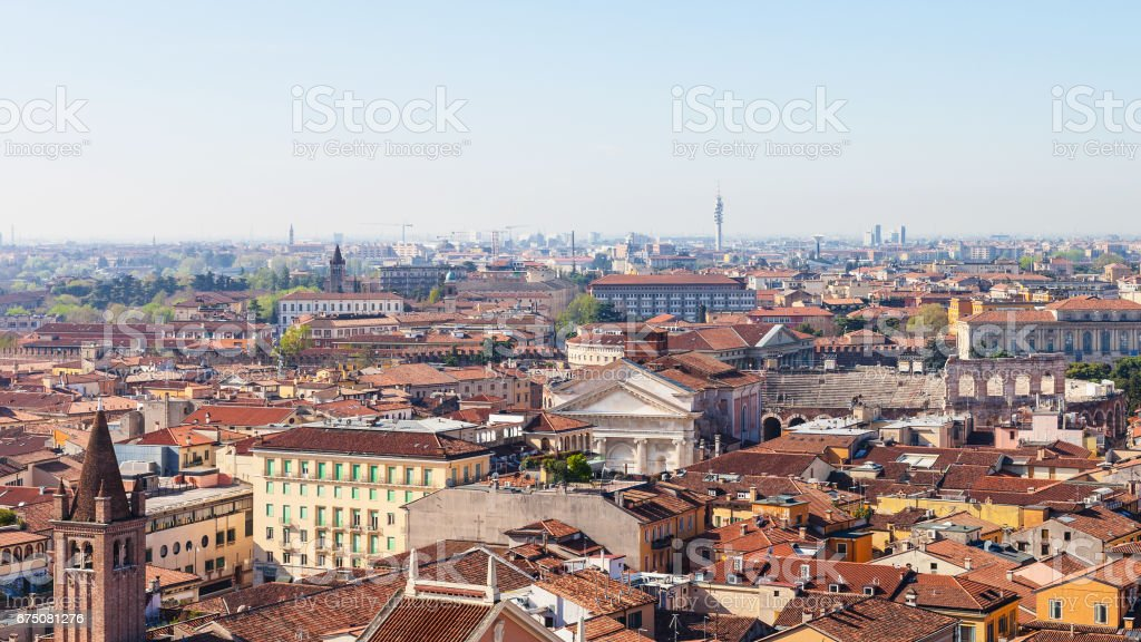 above view of Verona town with roman amphitheater stock photo