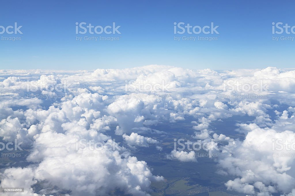 above view of white clouds in blue sky stock photo