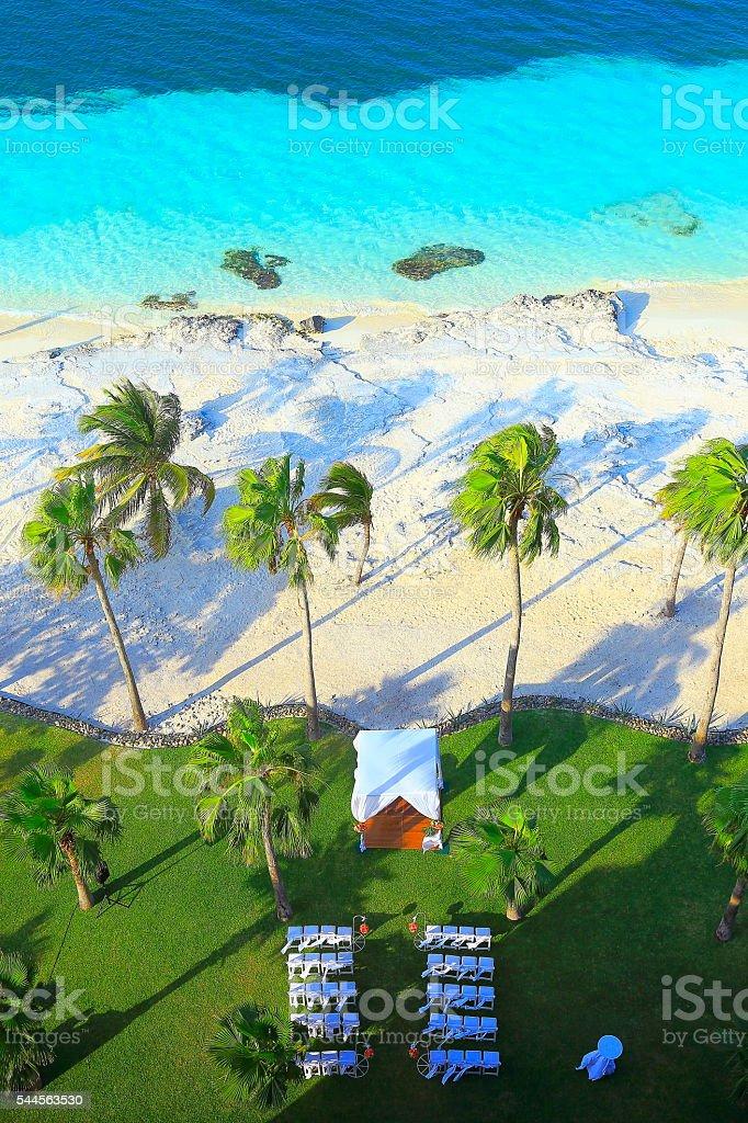 Above wedding gazebo, idyllic turquoise beach, Cancun, Mexican Caribbean stock photo