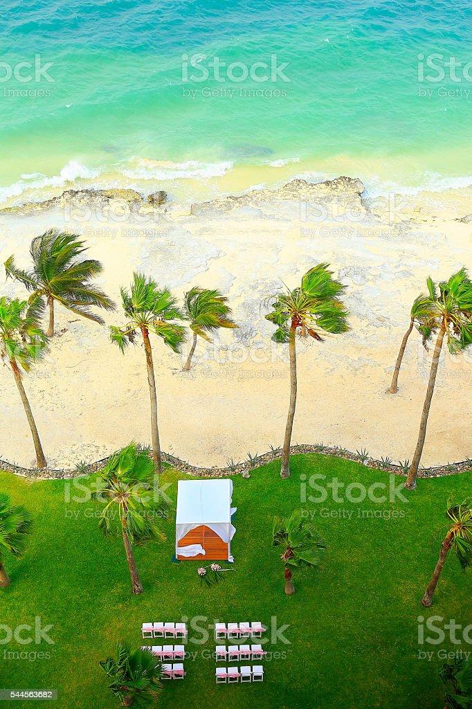 Above Wedding gazebo on the Beach, Caribbean, Cancun, Mexico stock photo