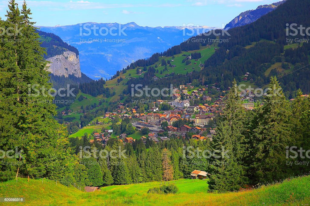 Above Wengen alpine village, idyllic countryside, Bernese Oberland, Swiss Alps stock photo